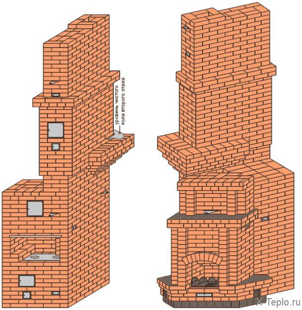 Обогреть два этажа печь
