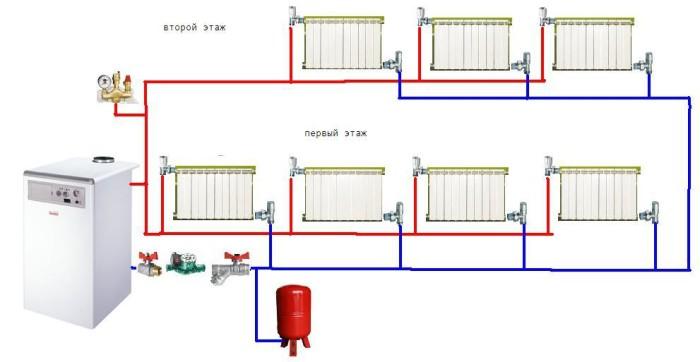 План схема системы отопления.