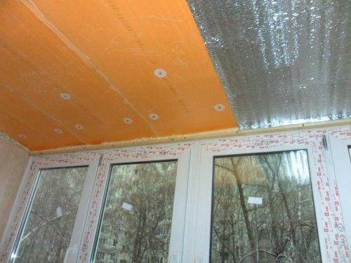 Утепление потолка балкона пенополистиролом