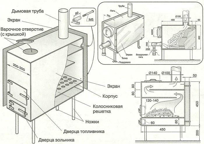 Дровяная печь своими руками схема